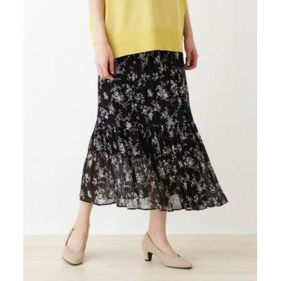 SHOO・LA・RUE/シューラルー 花柄ティアードロングスカート ブラック(719) 00(FREE)