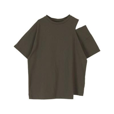 ティティベイト titivate アシンメトリースリットショルダーTシャツ (チャコール)