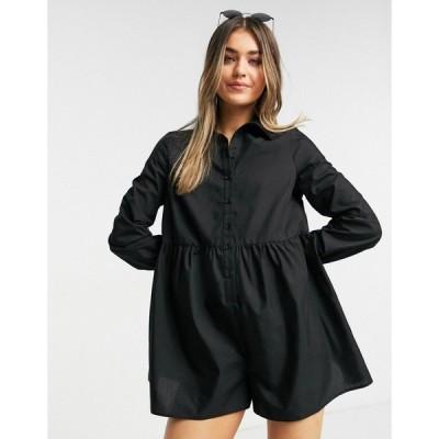エイソス ASOS DESIGN レディース オールインワン ショート ワンピース・ドレス Asos Design Shirt Smock Playsuit In Black ブラック