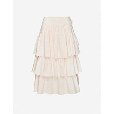 クロエ SEE BY CHLOE レディース ひざ丈スカート スカート Ruffled high-waisted cotton skirt PINK SAND