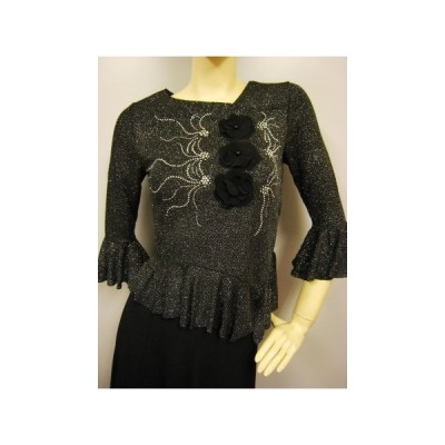 社交ダンス コーラス衣装 ダンスストップス レディース ダンスウェア 衣装  黒/シルバー