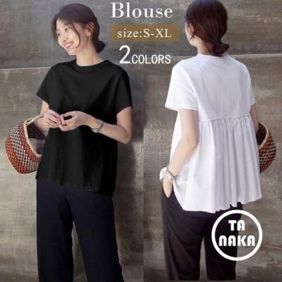 ブラウスチュニックレディース半袖夏トップスカットソーTシャツブラウス無地体型カバーゆったり体型カバーカジュアル黒白