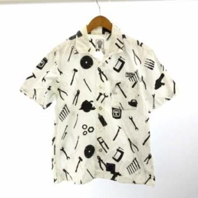 【中古】エム&エム M&M シャツ 半袖 ロゴ刺繍入り 総柄 プリント M 白 ホワイト メンズ