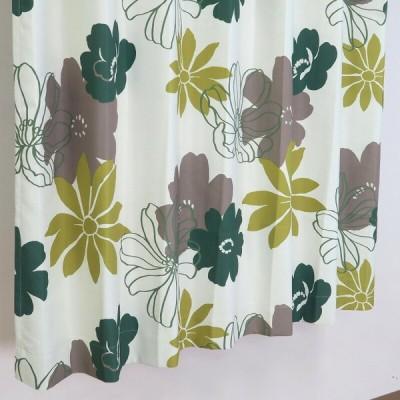 【幅51から100cm】【丈111から140cm】プリーツが綺麗なオーダーカーテン 花柄 グリーン un0087gn【出荷区分N】