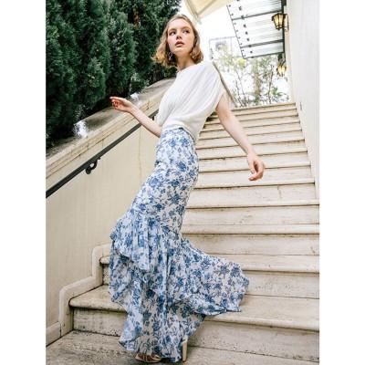 エイミーイストワール eimy istoire Amanda flowerシフォンマーメードスカート (BLUE)