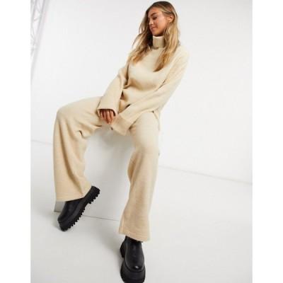 エイソス ASOS DESIGN レディース ボトムス・パンツ ワイドパンツ Co-Ord Wide Leg Knitted Trouser With Tie Waist Detail In Camel キャメル