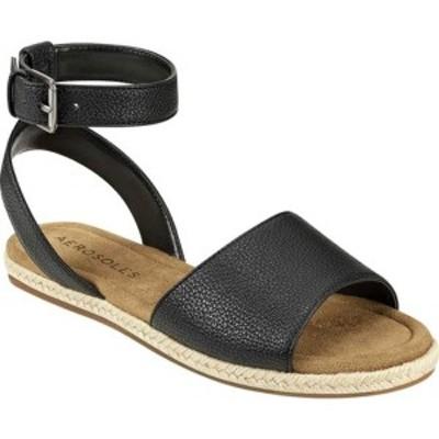エアロソールズ レディース サンダル シューズ Demarest Espadrille Ankle Strap Flat Sandal Black Faux Leather