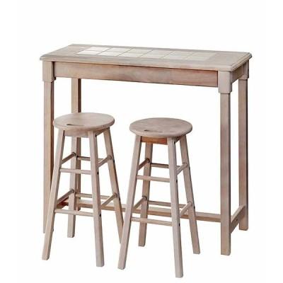 ナチュラ カウンタースツールセット 天然木(ラバーウッド) ウレタン塗装 タイル テーブル:W95×D38×H85 スツール:W29×D29×H60 azmy-net-588wh
