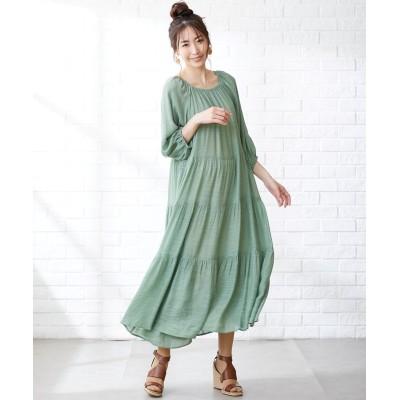 大きいサイズ スラブ素材ゆったりティアードマキシワンピース(OtonaSMILE) ,スマイルランド, ワンピース, plus size dress