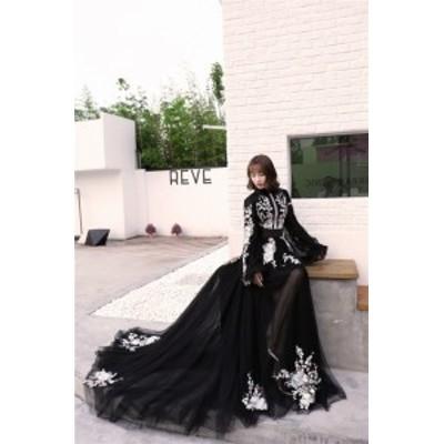新作 袖あり&ブラック ウエディングドレス 大きいサイズ ロングドレス 二次会 撮影用 花嫁 演奏会 結婚式 パーディードレス