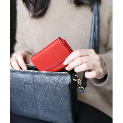 【ミアボルサ】 [Mia Borsa]牛革レザー 三つ折りミニ財布 ユニセックス レッド FREE Mia Borsa