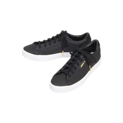 シューズ/レディース/adidas/SLEEK W レザースニーカー ブラック/【価格見直し商品】
