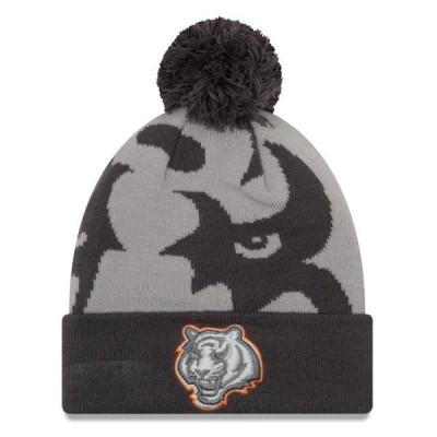 ユニセックス スポーツリーグ フットボール Cincinnati Bengals New Era Logo Whiz 3 Cuffed Knit Hat with Pom - Gray/Graphite - OSFA