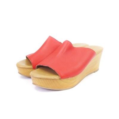 【中古】ビームスライツ BEAMS Lights サンダル ウエッジソール  厚底 赤系 レッド系 39 シューズ 靴 ■SM レディース 【ベクトル 古着】