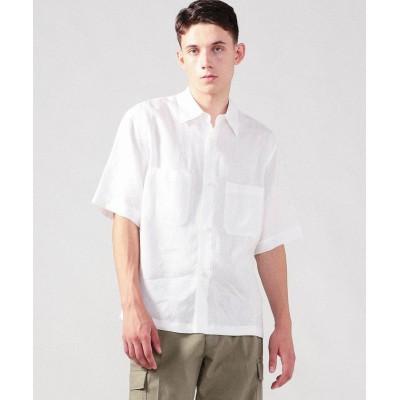 (CABaN/キャバン)リネン ダブルパッチポケットハーフスリーブシャツ/メンズ 11ホワイト