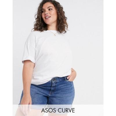 エイソス ASOS Curve レディース Tシャツ トップス ASOS DESIGN Curve relaxed t-shirt with roll sleeve in white ホワイト
