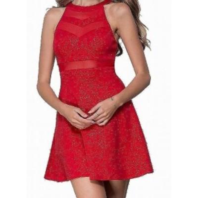 Red  ファッション ドレス Emerald Sundae Red Size Medium M Junior Glitter Jersey A-Line Dress