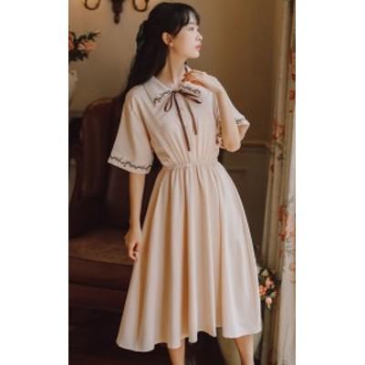 2点送料無料 2点セット レディース 中国風 刺繍 ワンピース 大きいサイズ ダンス衣装 演出服 エレガント 大人可愛い レトロドレス刺繍半