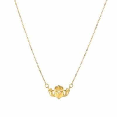 """14k Yellow Gold Polished Claddagh Center Charm On Chain Necklace, 17"""""""