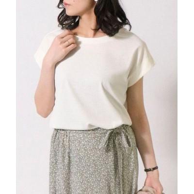 COMME CA ISM/コムサイズム テレコ フレンチスリーブ Tシャツ ホワイト L