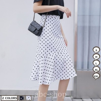 OLスカートメメメクラゲハイウエストスカートドット柄スカートシフォンスカート韓国風2020年新作ロングスカート