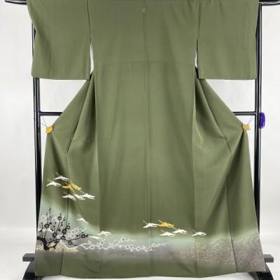 色留袖 美品 名品 一つ紋 舞鶴 枝梅 金糸 金銀彩 深緑 袷 身丈168cm 裄丈67.5cm L 正絹 中古