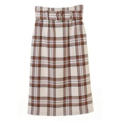 【トランテアン ソン ドゥ モード】ベルト付チェックタイトスカート