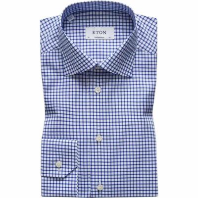 イートン Eton メンズ シャツ トップス Contemporary Fit Checked Shirt Blue