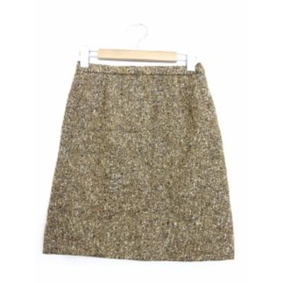 【中古】台形スカート スカート ボトムス ツイード ミックスカラー ひざ丈 ブラウン 茶 /YT9 レディース