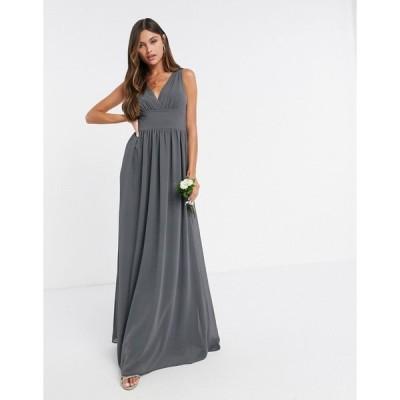 ティーエフエヌシー ミディドレス レディース TFNC Bridesmaid top wrap chiffon dress in grey  エイソス ASOS sale グレー 灰色