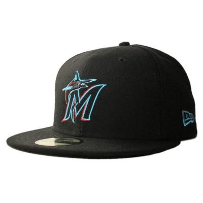 ニューエラ ベースボールキャップ 帽子 NEW ERA 59fifty メンズ レディース MLB マイアミ マーリンズ bk