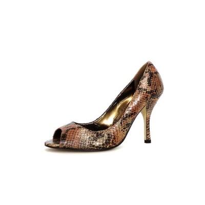 【中古】エンゾーアンジョリー二 ENZO ANGIOLINI パイソン柄 オープントゥパンプス 靴 6.5M ブラウン 茶 SSAW レディース 【ベクトル 古着】