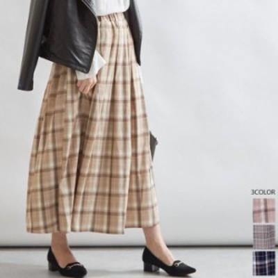 【2020秋冬】【3カラー M】動きのあるフレアラインで上品な大人の女性らしい印象に仕上げてくれるチェック柄ロングスカート♪ フレアス