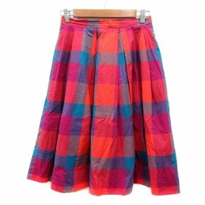 【中古】ビアンカズクローゼット Bianca's closet フレアスカート ミモレ ロング チェック S ピンク /MN レディース
