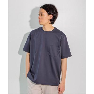 メンズ エディフィス ポンチ ワイド ポケット Tシャツ ネイビー B L
