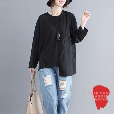 大きいサイズ トップス レディース ファッション おおきいサイズ 対応 プルオーバー オーバーサイズ ビッグシルエット アシメ Tシャツ M L LL 3L 秋冬