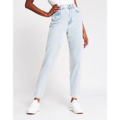 リバーアイランド レディース デニムパンツ ボトムス River Island tapered high rise jeans in light auth blue Light auth
