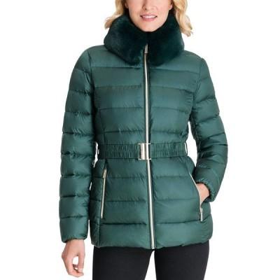 マイケルコース コート アウター レディース Faux-Fur Collar Belted Puffer Coat Dark Emerald