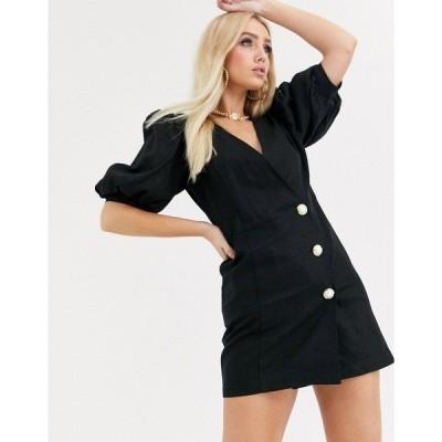 エイソス レディース ワンピース トップス ASOS DESIGN puff sleeve linen mini dress with pearl buttons Black