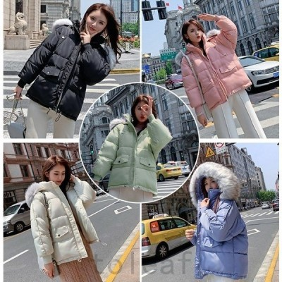 レディースダウンコットンジャケットジャケットアウター無地ショート丈可愛いゆったり冬新作ファッション