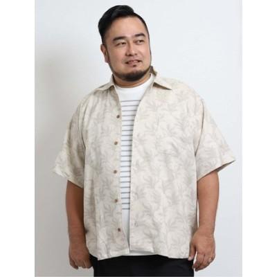 【大きいサイズ】グランバック/GRAND-BACK 綿麻リーフプリント オープンカラー半袖シャツ
