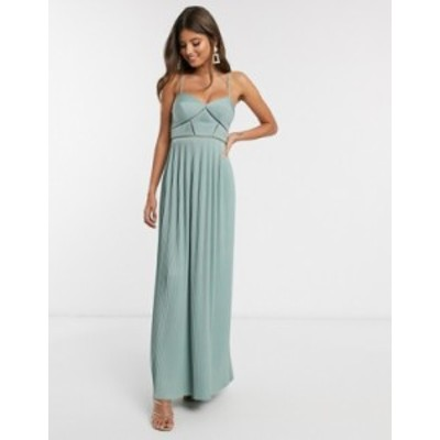 エイソス レディース ワンピース トップス ASOS DESIGN Premium cami pleated maxi dress with trim detail in spearmint Spearmint