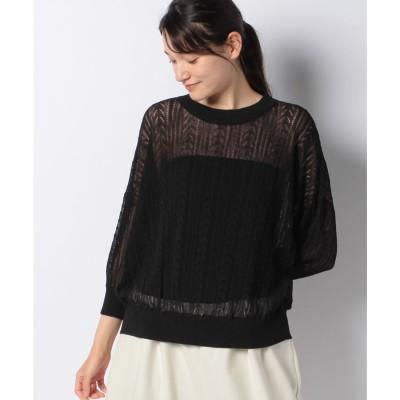 MARcourt linen blend 3/Q slv pattern knitting プルオーバー(BLACK)【返品不可商品】