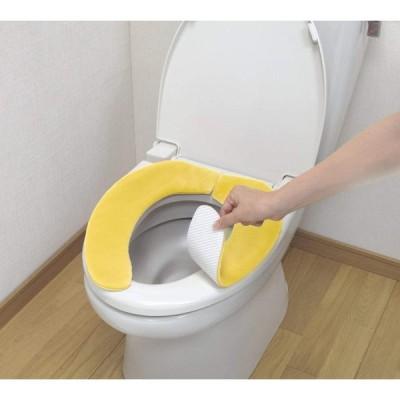 サンコー ズレない トイレ 便座 カバー イエロー 無地 おくだけ吸着 HOKAテック 消臭ふんわり KF-66(日本製)