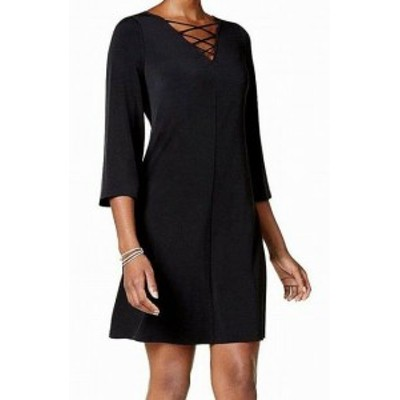 Jessica Howard ジェシカハワード ファッション ドレス Jessica Howard NEW Black Womens Size 4P Petite Sheath Lace-Up Dress