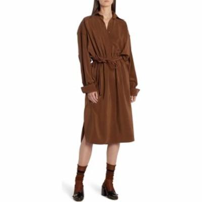 フェンディ FENDI レディース ワンピース シャツワンピース ワンピース・ドレス Long Sleeve Silk Crepe de Chine Shirtdress Oak