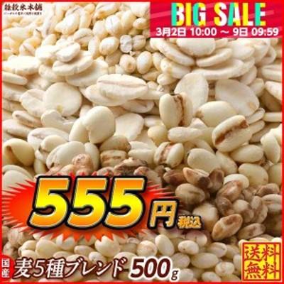 雑穀 麦 国産 麦5種ブレンド(丸麦/押麦/はだか麦/もち麦/はと麦) 500g 送料無料 ダイエット食品 置き換えダイエット 雑穀米本舗