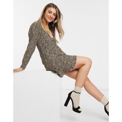 プルアンドベア レディース ワンピース トップス Pull&Bear wrap mini dress in leopard print Multi