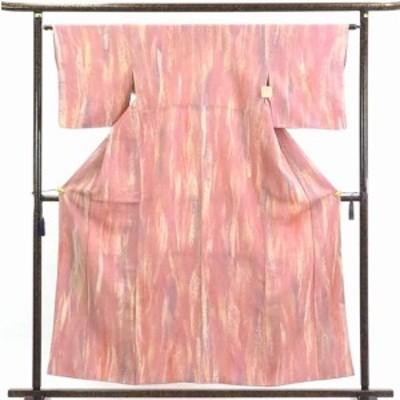 【中古】リサイクル着物 小紋 / 正絹ピンク地袷小紋着物 / レディース【裄Mサイズ】
