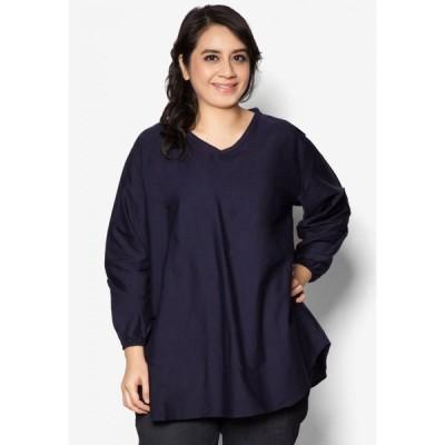カシ Kasih レディース ブラウス・シャツ 大きいサイズ Vネック トップス Plus Size V Neck Cotton Shirt Blue Black